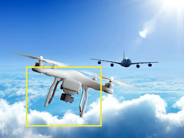 Airport airspace protection solution based on passive optoelectronic rangefinder to detect, identify, localize and predict the track of unknown flying objects (UAVs, drones, etc.)